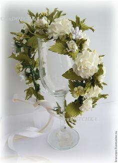 """Купить Венок на голову """"Венчание"""" - белый, цвет шампанского, айвори, венок из цветов, венок на голову"""