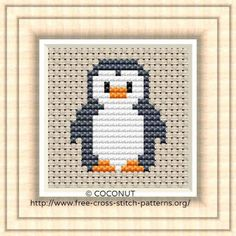 Free cross stitch pattern: Penguin,Free cross stitch pattern