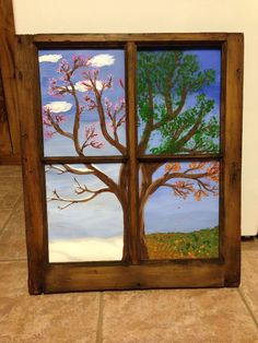 Four Seasons Tree in an old wooden window frame painted on canvas Four Seasons Painting, Four Seasons Art, Window Frame Art, Wooden Window Frames, Wooden Windows, Diy Frame, Art Plastique, Tree Art, Painting Inspiration