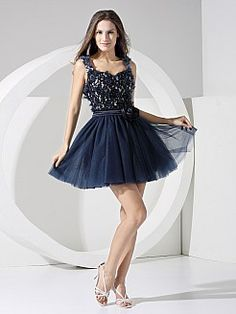 Tulle and Satin Strapped A Line Graduation Dress with Appliques