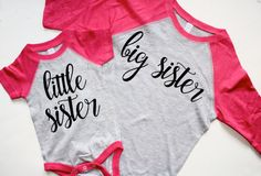 Big Sister baseball shirt. Little Sister by DesignsbyChristineE