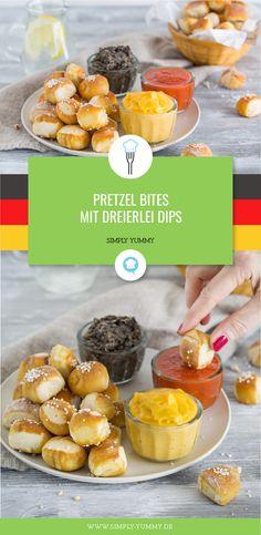 Fußball WM Snacks: Pretzel Bites mit Schwarz-Rot Gold Dips #fußball #wm #snacks #wm2018 #wm18 #russland2018 #deutschland #dips #pretzel #bites #salsa #cheese #bohnenmus #fingerfood #partyfood #rezept #rezepte #fußballparty #snackbuffet #partybuffet