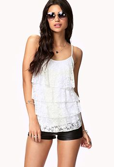 Tiered Lace Ruffle Tank | FOREVER21 - 2051659824
