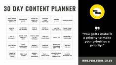 Perk Media 30 Day Content Planner for Social Media  Business and Bloggers  Ideas to create engaging content for your social media channels Digital Media Marketing, Email Marketing, Online Blog, Social Media Channels, Community Manager, 30 Day, Business Tips, Life Quotes, Content