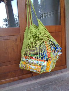 This is a quick, easy to make bag that mimics the mesh bags sold at health food stores. Using different yarns and hook sizes, you can make these as big or a little as you want. The shape is not very typical, but it stretches to accommodate a huge amount of stuff.