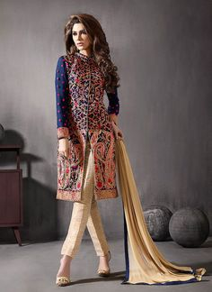Achkan Style Blue Color with Lace Work Astounding Unstitched Salwar Kameez