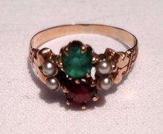 Victorian 14K Gold Ruby Red Emerald Green Seed Pearl Ring from bestkeptsecrets on Ruby Lane