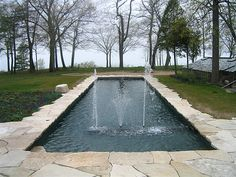 Rural pool with fountains