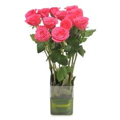 Check out our New Product  Pink Magic Mothers Day Bunch of Long Stem fresh 12 Pink Roses in a glass vase.  Rs.713