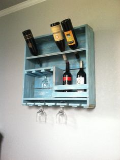 Wine Rack made from Repurposed Fence Pickets in an Aqua wash, 10 Bottle Holder, 6 Wine Glass Holder, Shabby Chic, Wine Rack , Rustic Decor