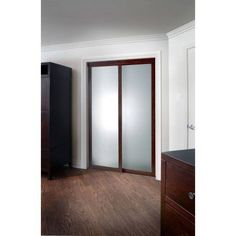 Pinecroft Fusion Frosted Glass Chocolate Frame Sliding Door, Brown