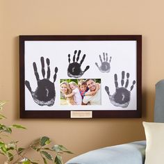 Need a unique gift? Send Family Handprint & Frame and other personalized gifts at Personal Creations. Family Crafts, Baby Crafts, Fun Crafts, Crafts For Kids, Arts And Crafts, Simple Crafts, Rock Crafts, Summer Crafts, Craft Gifts