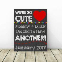 3rd Pregnancy Announcement, Pregnancy Chalkboard Sign, Baby Reveal, Baby Announcement, Pregnancy Reveal, Sibling Announcement, 2nd Baby by PrintsInspiredByMyah on Etsy