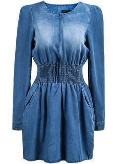 Gebleichtes Denim Kleid Langarm, blau 17.99