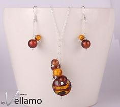 Necklace and earrings with gold and brown tones Murano glass with gold foil, genuine Murano, sterling silver, cluster ear-rings and pendant