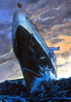R.M.S Queen Mary painting