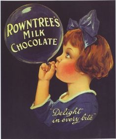 1920's Rowntrees Chocolate Advertising  Poster  A2 Reprint  I chose this because it makes me wonder if any of our advertising seems to have absolutely nothing to do with the product