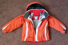 COLUMBIA Girl's 4 5 Winter Ski Coat OMNI TECH Orange Red White Hooded Jacket…