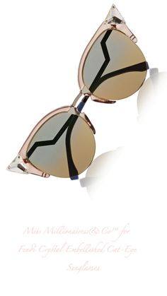 Fendi Crystal Embellished Cat-Eye Sunglasses
