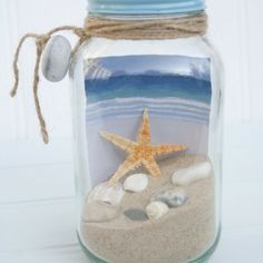 """Get Away in a Jar"" ~ put a cool picture of a beach in the jar, fill with sand & mini sea shells & attach gift tag with ribbon. Would make a cute coworker office gift!"