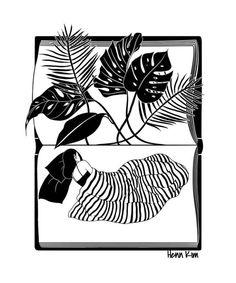 A Midsummer Night's Dream Art Print by hennkim Pop Art Illustration, Black And White Illustration, Tom Bagshaw, Henn Kim, Kim Book, Sketchbook Project, Midsummer Nights Dream, Dream Art, Line Drawing