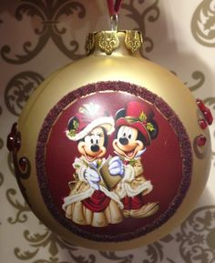 Amazon.com - Disney Parks Mickey Minnie Mouse Picture Victorian Christmas Holiday Ornament