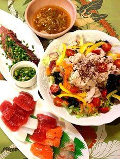 豚しゃぶ温野菜は超手抜きなのに、大好評!野菜もたっぷり食べられます - 58件のもぐもぐ - 塩麹豚しゃぶと温野菜・刺身・ねぎお味噌汁 by 1125shino