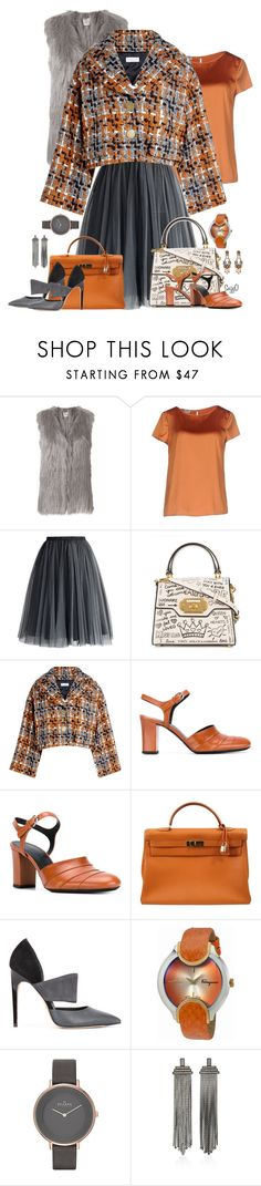"""ORANGE AND GREY"" by polyvore-suzyq ❤ liked on Polyvore featuring Urbancode, Armani Collezioni, Chicwish, Dolce&Gabbana, Sonia Rykiel, Jil Sander, Hermès, Calvin Klein, Salvatore Ferragamo and Skagen"