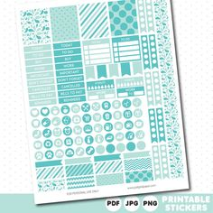 Mint and turquoise weekly planner stickers with headers, full boxes, half boxes…