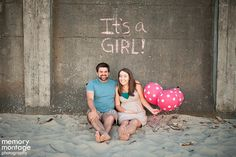 """It's a Girl"" Pink Polka Dot Balloon Gender Reveal (Memory Montage Photography)"