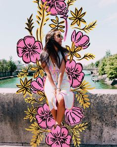 Flower Power by Power by Vicka - - Modern Artsy Photos, Draw On Photos, Creative Photos, Foto Doodle, Doodle On Photo, Photography Illustration, Illustration Girl, Digital Illustration, Photoshop Photography