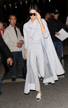 Kendall Jenner wears a monochromatic ensemble with metallic-capped espadrilles