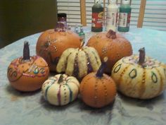 Puffy painted pumpkins Puffy Paint, Painted Pumpkins, Holidays, Vegetables, Food, Painted Gourds, Holidays Events, Holiday, Essen