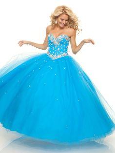 BallGown Sweetheart Tulle Satin Floor-length Blue Beading Prom Dress at Msdressy