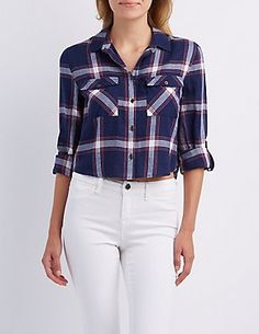 Plaid Cropped Button-Up Top