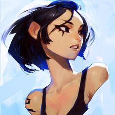 Mirrors edge 2 hype So here's #faith in bluuuue #digitalpainting #mirrorsedge #catalyst #blue #girl #tattoo 52/100.