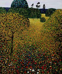 Art by Gustav Klimt - Field of Poppies Kandinsky, Klimt Art, Baumgarten, Landscape Paintings, Oil Paintings, Art Nouveau, Art Photography, Art Gallery, Fine Art