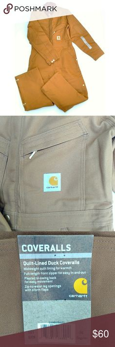 "NWT Carhartt Men's Quilt-Lined Duck Coveralls Brand new Carhartt Men's Quilt-Lined Duck Coveralls. Size 36 Regular. 12oz 100% cotton with nylon quilted lining. Multiple pockets, hammer loop, corduroy top collar with snaps under collar for an optional hood, ankle-to-waist, two-way leg zippers with snap closures. Triple stitch stitching.  Please review measurements before purchasing. Coverall size is not that same as waist or chest size. These are small and could fit a woman. I am 5'4"" 125 lb…"