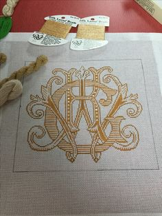 Custom monogram needlepoint gold & white ring bearer pillow