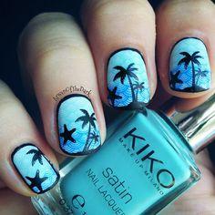 Beach Palm trees Summer nail art from Nail Art Coven
