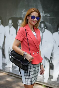 Apricot peplum blazer, Oakley sunglasses, Patrizia Pepe, studded clutch, Fashion and Cookies, fashion blogger
