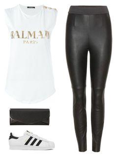 """Balmain Tshirt"" by rusinn ❤ liked on Polyvore featuring adidas, J. Furmani, Dolce&Gabbana and Balmain"