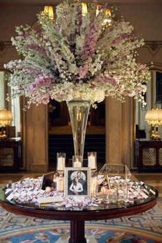 Glamorous Destination Wedding with Classic Palette at The Breakers - Inside Weddings Flower Centerpieces, Wedding Centerpieces, Flower Arrangements, Centerpiece Ideas, Table Arrangements, White Wedding Decorations, Reception Decorations, Event Decor, Glamorous Wedding