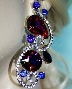 Rhinestone Chandelier Earrings Bridal Prom Pageant 3.1 inch Vitrail Drag #Unbranded #Chandelier