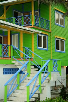 Sun and beach photo gallery. Looks like it would be fun to stay here on vacay! Exterior Colors, Exterior Paint, Rainbow House, Caribbean Homes, Tropical Architecture, Beach Photos, Victorian Homes, Beautiful Landscapes, House Colors