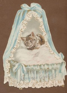 Tuck Die Cut Xmas Card: Cat in Cradle. Cat by Helena Maguire.