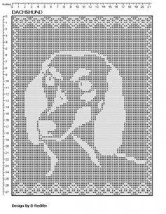 Original Filet Crochet Pattern  Dachshund Theme 004 ($2.50)