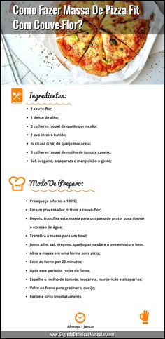 Receita de Massa De Pizza Fit Com Couve-Flor Pizza De Couve-Flor Low Carb