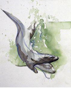 Walty Dudok van Heel - duikende otters - diving otters