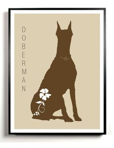 Doberman Pinscher Dog Art Print Modern - Wedding Gift - House Warming Gift - Any Breed - Printable Artwork. $4.50, via Etsy.